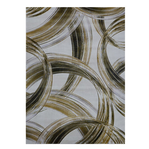 Canterbury 1125 Gold Grey Curve Patterned Modern Rug - Rugs Of Beauty - 1