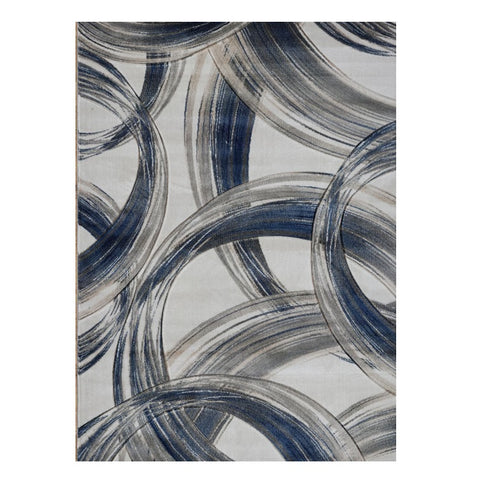 Canterbury 1125 Grey Blue Curve Patterned Modern Rug - Rugs Of Beauty - 1