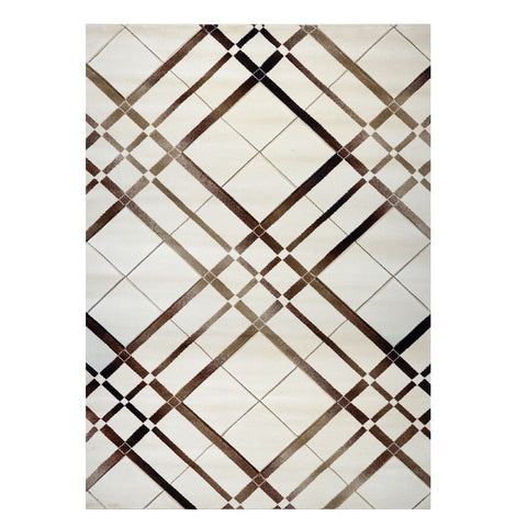 Canterbury 1129 Cream Brown Abstract Patterned Modern Rug - Rugs Of Beauty - 1