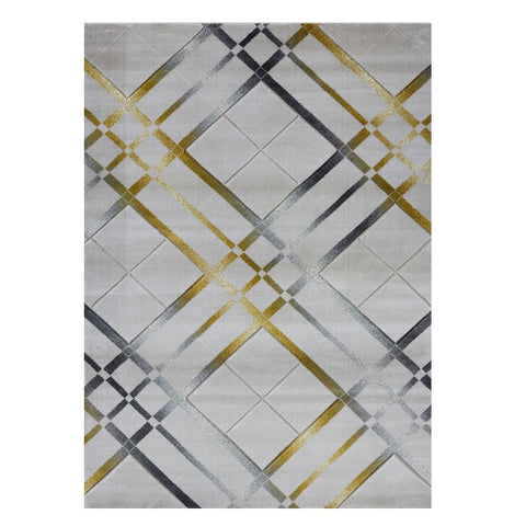 Canterbury 1129 Grey Gold Abstract Patterned Modern Rug - Rugs Of Beauty - 1
