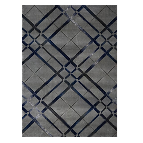 Canterbury 1129 Grey Blue Abstract Patterned Modern Rug - Rugs Of Beauty - 1