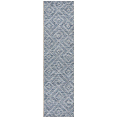 Siderno 4114 Blue Modern Indoor Outdoor Runner Rug - Rugs Of Beauty - 1