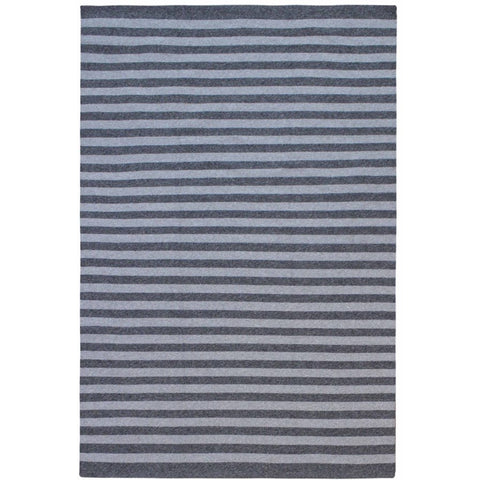 Santos Light Grey Charcoal Striped Patterned Indoor Outdoor Flatweave Rug - Rugs Of Beauty