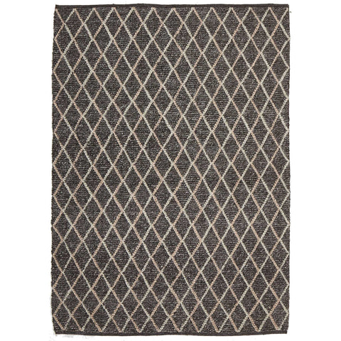 Beige Cream Trellis Charcoal Flatweave Designer Rug - Rugs Of Beauty - 1