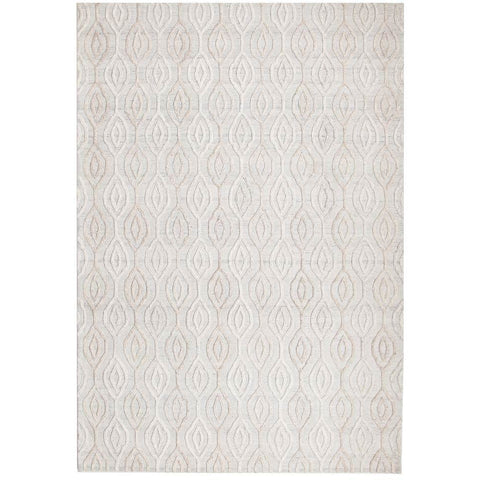 Vienna 2350 Hand Loomed White Patterned Wool and Viscose Modern Rug - Rugs Of Beauty - 1