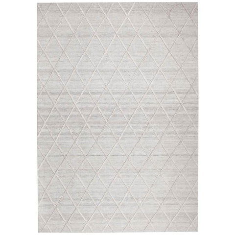 Vienna 2351 Hand Loomed Silver Grey Patterned Wool and Viscose Modern Rug - Rugs Of Beauty - 1