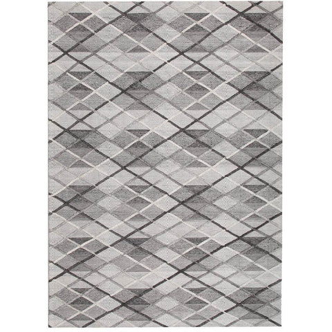 Vienna 2352 Hand Loomed Grey and White Cross Hatch Patterned Wool and Viscose Modern Rug - Rugs Of Beauty - 1