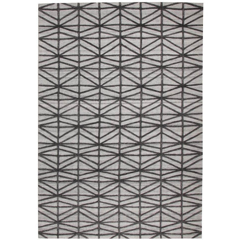 Vienna 2353 Hand Loomed Pewter Charcoal Grey Patterned Wool and Viscose Modern Rug - Rugs Of Beauty - 1
