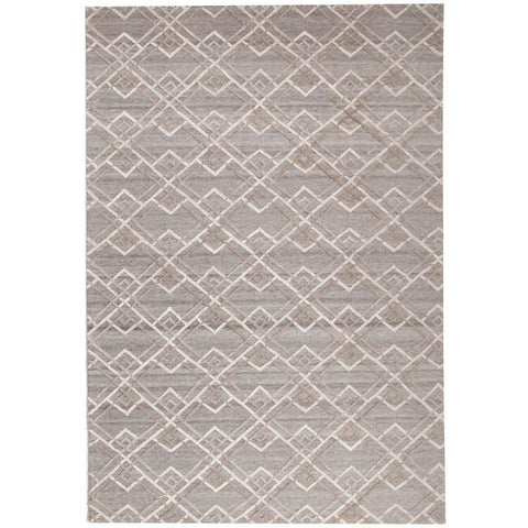 Vienna 2354 Hand Loomed Silver Grey Beige Brown Patterned Wool and Viscose Modern Rug - 1