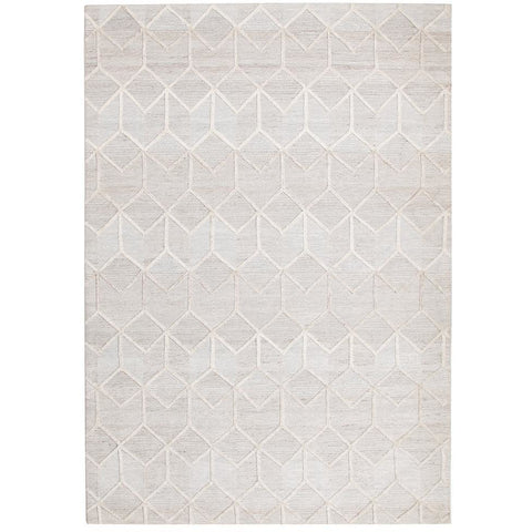 Vienna 2355 Hand Loomed Grey Beige Patterned Wool and Viscose Modern Rug - Rugs Of Beauty - 1