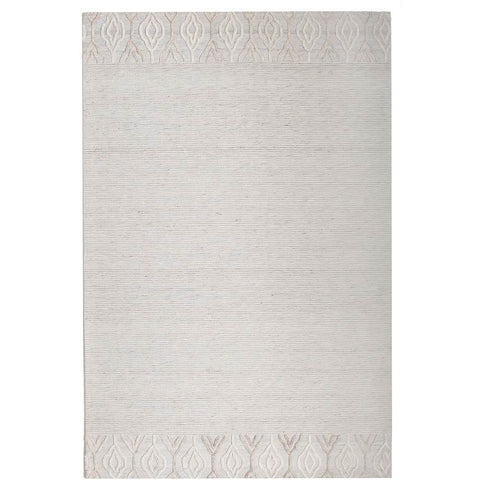 Vienna 2356 Hand Loomed Ivory White Patterned Wool and Viscose Modern Rug - Rugs Of Beauty - 1