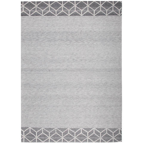 Vienna 2357 Hand Loomed Grey Patterned Wool and Viscose Modern Rug - Rugs Of Beauty - 1
