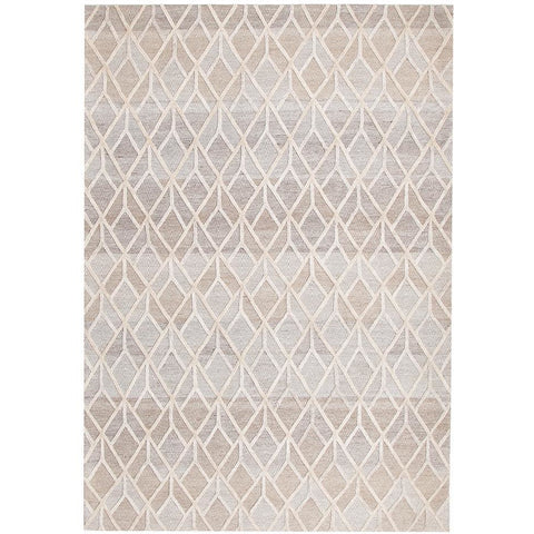 Vienna 2358 Hand Loomed Sand Beige Brown Patterned Wool and Viscose Modern Rug - Rugs Of Beauty - 1