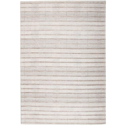 Vienna 2359 Hand Loomed Grey Taupe Stripe Patterned Wool and Viscose Modern Rug - Rugs Of Beauty - 1