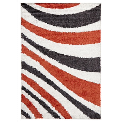 Burst Shag Rug Tangerine and Charcoal - Rugs Of Beauty - 1