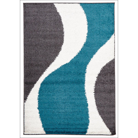 Enigma Shag Rug Blue Charcoal White - Rugs Of Beauty - 1