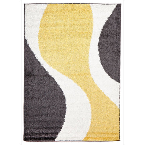 Enigma Shag Rug Yellow Charcoal White - Rugs Of Beauty - 1