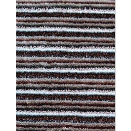 Hand Knotted Polyester Plush Shaggy Striped Chocolate Brown Rug - Rugs Of Beauty