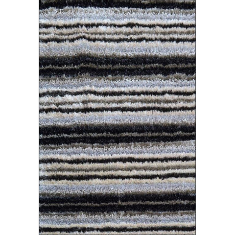 Hand Knotted Polyester Plush Shaggy Wave Striped Grey Rug - Rugs Of Beauty