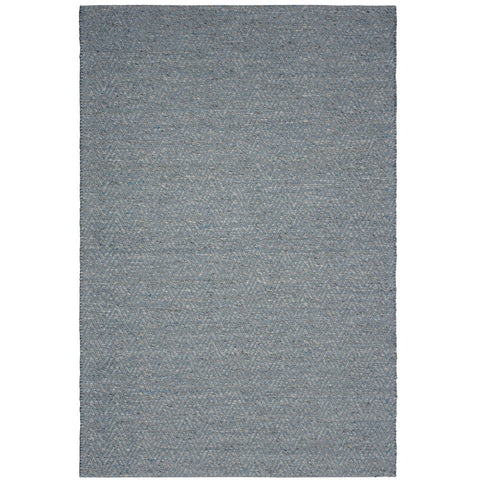 Atlantis Blue Flatweave Herringbone Chevron Wool Rug - Rugs Of Beauty