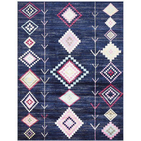Louga 330 Navy Modern Tribal Rug - Rugs Of Beauty - 1