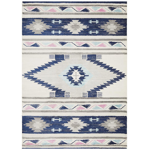 Louga 331 Navy Blue Modern Tribal Rug - Rug Of Beauty - 1