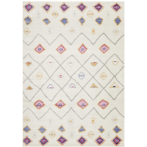 Louga 333 White Modern Tribal Rug - Rug Of Beauty - 1