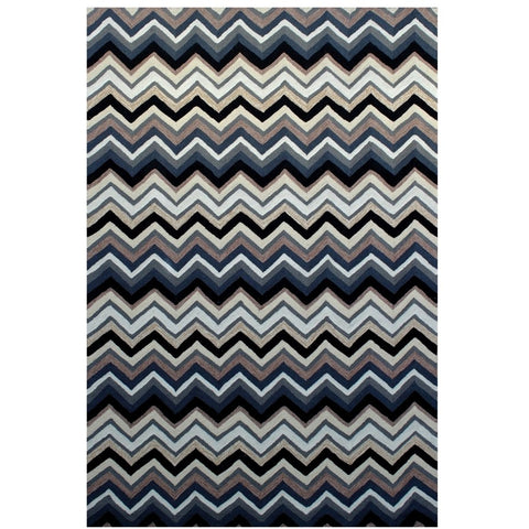 Serov Indoor Outdoor Charcoal Multi Colour Chevron Patterned Rug - Rugs Of Beauty