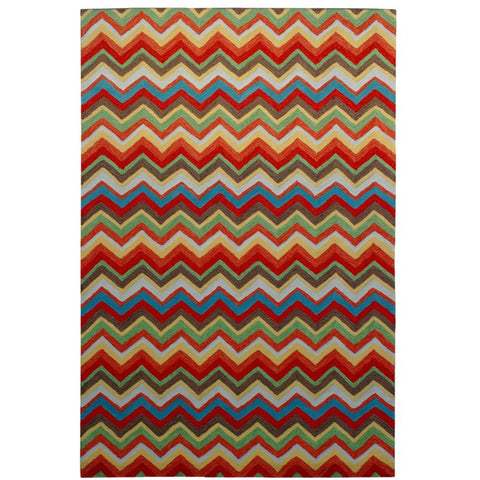 Serov Indoor Outdoor Multi Colour Chevron Patterned Rug - Rugs Of Beauty