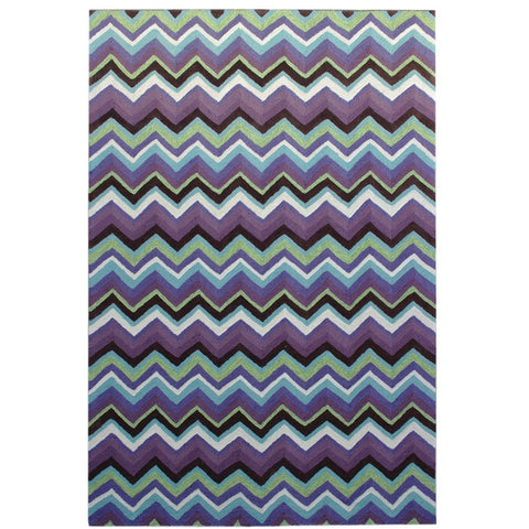 Serov Indoor Outdoor Purple Multi Colour Chevron Patterned Rug - Rugs Of Beauty