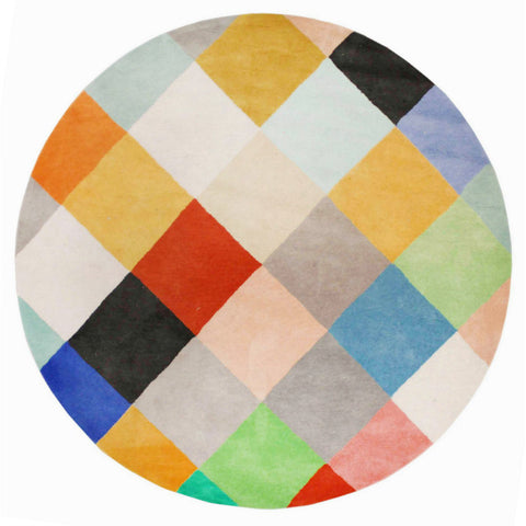 Abilene Geometric Multi Coloured Squares Patterned Round Rug - Rugs Of Beauty