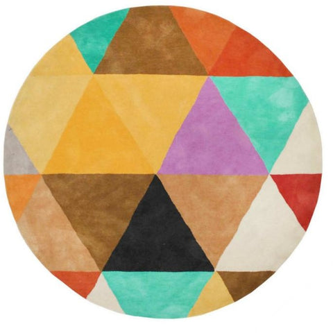 Abilene Geometric Multi Coloured Triangle Patterned Round Rug - Rugs Of Beauty