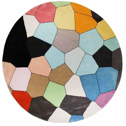 Abilene Geometric Multi Coloured Bright Pixel Patterned Round Rug - Rugs Of Beauty