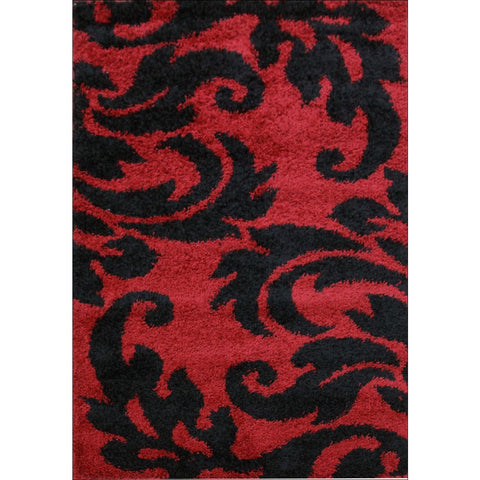 Damask Style Print Shag Rug Red Black - Rugs Of Beauty