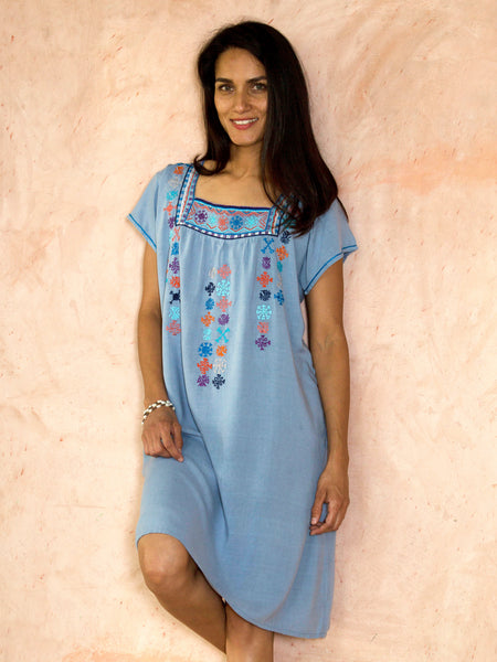 Embroidered Mexican muumuu dress