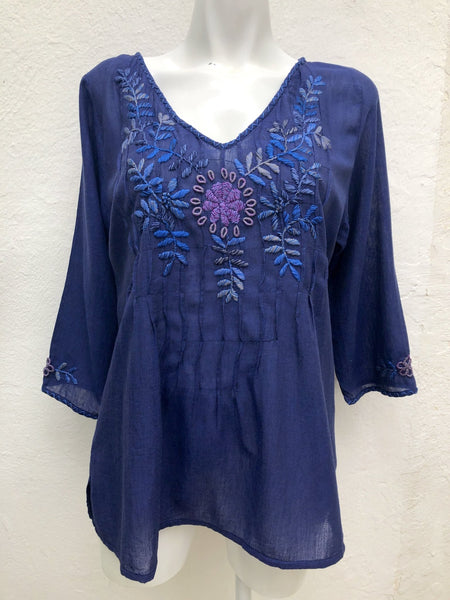 Amara - blackberry tunic blouse - Abrazo Style Shop