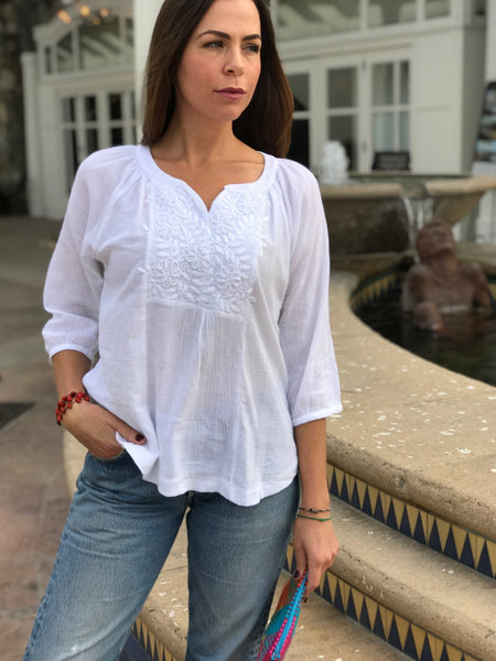 Carlota - white peasant blouse - Abrazo Style Shop