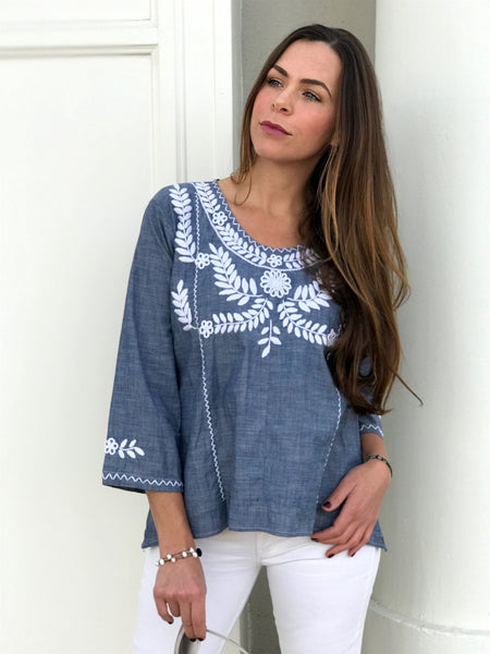 Clavel - blue tunic top blue white tunic, cotton blouse, floral blouse, hand embroidered tunic