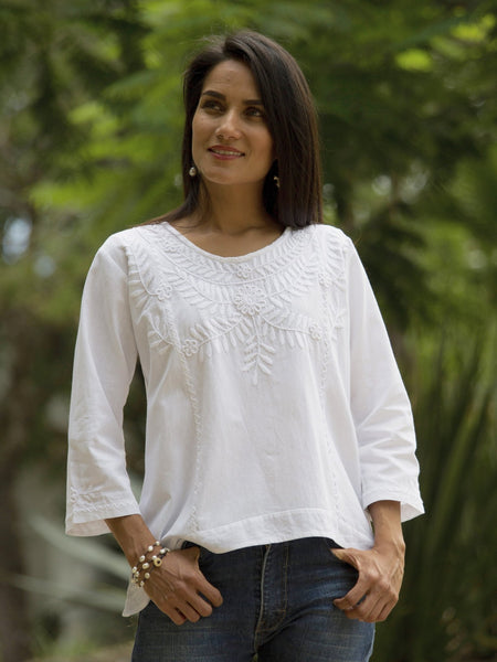 Clavel - white tunic top - Abrazo Style Shop