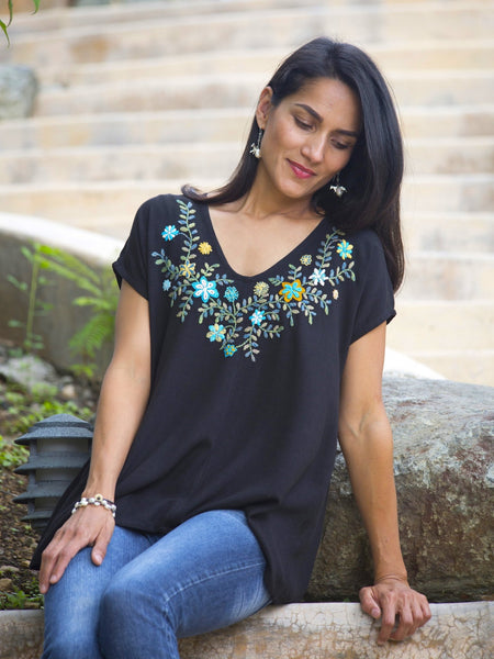 Graciela - V neck top - Black floral blouse, fair trade blouse,Abrazo Style Shop