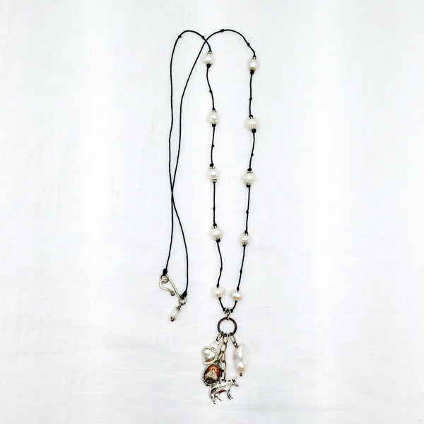 Juquila milagro crystal pearl long necklace - Abrazo Style Shop