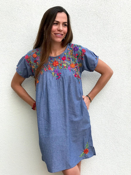 Margarita - chambray blossoms dress - Abrazo Style Shop