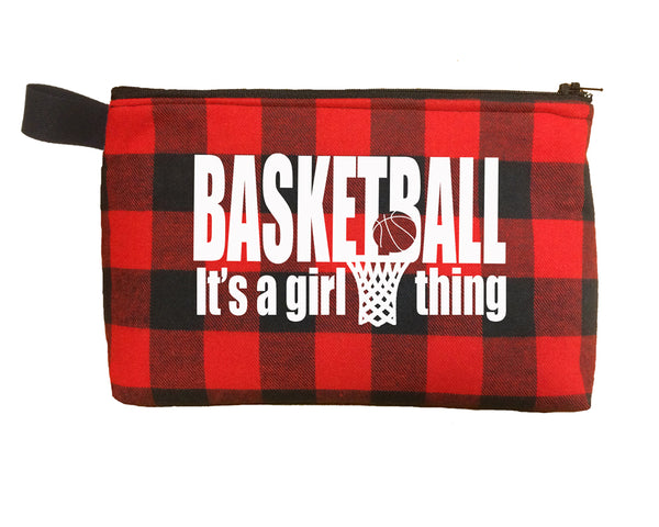 buffalo plaid cosmetic bag for basketball girl