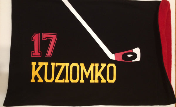 Personalized hockey player pillowcase