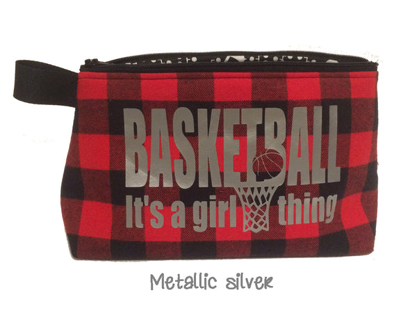 girl basketball player gift; red and black flannel cosmetic bag