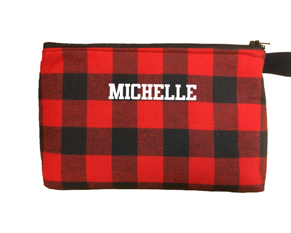 Red and black plaid flannel zip bag - Hockey it's a girl thing