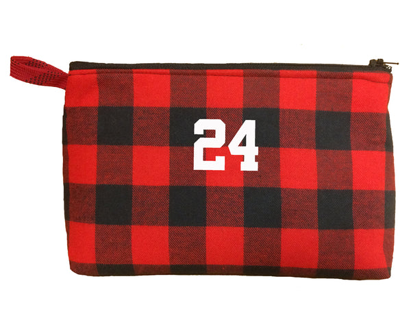 Basketball girl black and red buffalo plaid flannel zippered bag
