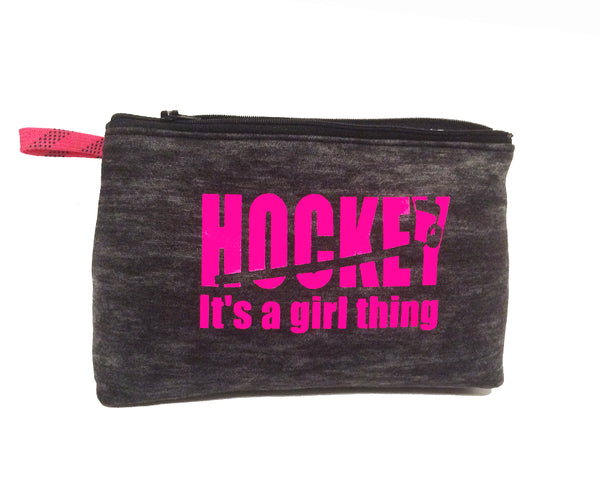 Burnout black fleece zip bag - Hockey it's a girl thing