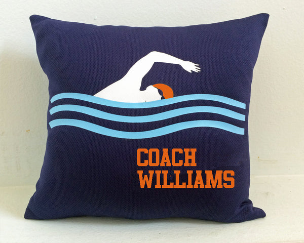Personalized swim coach pillow