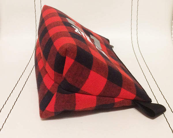 Basketball plaid flannel zippered bag for toiletries, art supplies, makeup